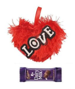 Indigo Creatives Love Gift Red Heart Shaped Soft Toy With Cadbury Chocolate