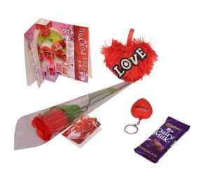 Indigo Creatives Love Gift Faux Red Rose With Love Greeting Card, Keychain, Soft Heart And Cadbury Chocolate
