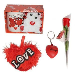 Indigo Creatives Love Gift I Love You Coffee Mug With Teddy Bear, Red Heart, Keychain And Faux Red Rose