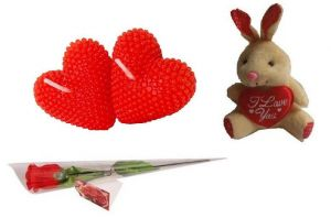 Indigo Creatives Gift Red Love Pasion Heart Candle Set With Red Rose And Love Teddy Bear