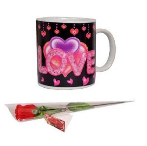 Indigo Creatives Gift Heat Sensitive Color Changing I Love You Coffee Mug With Red Rose