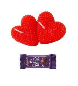 Indigo Creatives Gift Red Love Pasion Heart Candle Set With Cadburys Chocolate