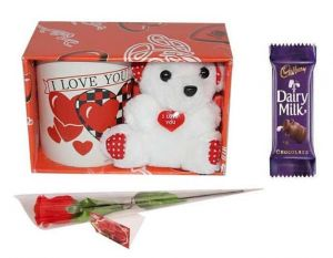 Indigo Creatives Gift I Love You Coffee Mug With Teddy Bear, Milk Chocolate And Faux Red Rose