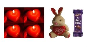 Indigo Creatives Gift Red Love Pasion Heart Candle Set With Love Teddy Bear, Chocolate Gift