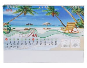 Indigo Creatives Multicolour Beautiful Sea Side Beach Nature Scenic 2018 Desktop Office Calendar