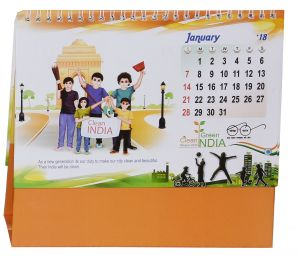 Indigo Creatives Clean Green Swach India Table Desk Top 2018 Calendar