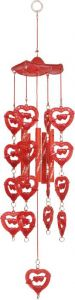 Indigo Creatives Love Red Fengshui Plastic Wind Chime 14 Inch