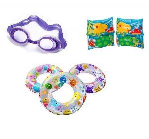 Indigo Creatives Large Size Swimming Ring With Goggles And Fish Style Arm Band Kids Set Kit