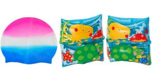 Indigo Creatives Boy Girl Swimming Kit With Arm Bands And Cap Combo Pack (age 3 - 9)