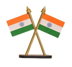 Indigo Creatives Table Top/ Car Panel Inbuilt Official Look Crossed Style Pair Of Indian Flags