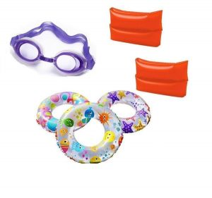Indigo Creatives Large Size Swimming Ring With Goggles And Arm Band Kids Set Kit