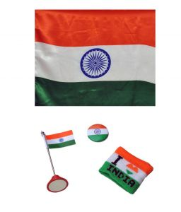 Indigo Creatives Tabletop Indian Flag With Wristband, Shirt Button And Medium Sized Outdoor Flag Combo