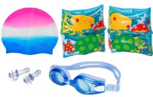 Indigo Creatives Intex Boy Girl Swimming Kit With Arm Bands Goggles Cap With Free Ear Plug
