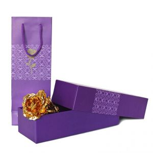 Anniversary Gifts - Golden Rose In Purple Box