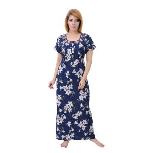 Asmi,Sukkhi,Sangini,Lime,Sleeping Story,Unimod,Cloe,Kiara Women's Clothing - Sleeping Story Women's Fine Cotton Floral Printed Nighty (Code - 10361)