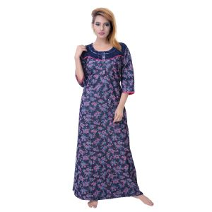 Asmi,Sukkhi,Lime,Sleeping Story,Jharjhar,Arpera Women's Clothing - Sleeping Story Women's Poly Cotton Floral Printed Nighty (Code - 10365)