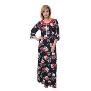 Jagdamba,Kalazone,Jpearls,Mahi,Surat Diamonds,Asmi,Sleeping Story,Estoss Women's Clothing - Sleeping Story Women's Fine Cotton Floral Printed Nighty (Code - 10366)