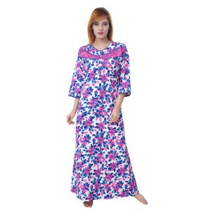 Kiara,Sparkles,Jagdamba,Platinum,Sleeping Story Women's Clothing - Sleeping Story Women's Poly Cotton Floral Printed Nighty (Code - 10368)