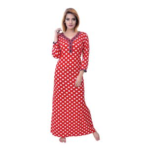 Vipul,Arpera,Sleeping Story,Bagforever Women's Clothing - Sleeping Story Women's Jursey Cotton Polka Printed Nighty (Code - 10369)