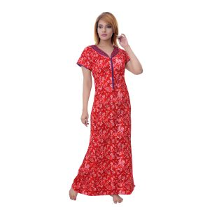 Vipul,Arpera,Sleeping Story,Kalazone,See More,Sukkhi,Flora,The Jewelbox,Surat Diamonds Women's Clothing - Sleeping Story Women's Jursey Cotton Floral Printed Nighty (Code - 10381)