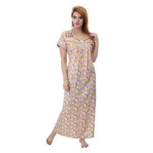 Jagdamba,Kalazone,Jpearls,Mahi,Surat Diamonds,Asmi,Sleeping Story Women's Clothing - Sleeping Story Women's Poly Cotton Floral Printed Nighty (Code - 10385)