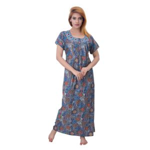 Asmi,Sukkhi,Sangini,Lime,Sleeping Story,Oviya Women's Clothing - Sleeping Story Women's Poly Cotton Floral Printed Nighty (Code - 10387)