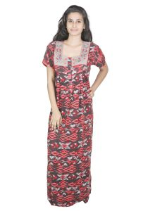 Sleeping Story Red Printed Rayon Full Length Nighty For Women(code-20144-a)