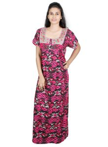 Sleeping Story Pink Printed Rayon Full Length Nighty For Women(code-20144-b)