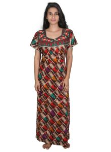 Vipul,Arpera,Sleeping Story,Clovia,Cloe,Platinum,Hoop,Lime Women's Clothing - Sleeping Story Brown Printed Cotton Nighty for Women(Code-20256-C)