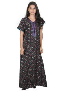 Rcpc,Kalazone,Jpearls,Parineeta,Bagforever,Clovia,Shonaya,Flora,Sangini,Sleeping Story Women's Clothing - Sleeping Story Alpine Black and Pink Printed Nighty for Women(Code-20269-A)