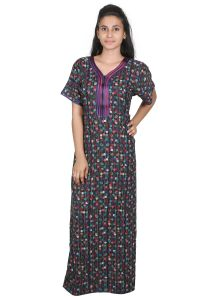 Sleeping Story Women's Clothing - Sleeping Story Alpine Black and Purple Printed Nighty for Women(Code-20269-B)