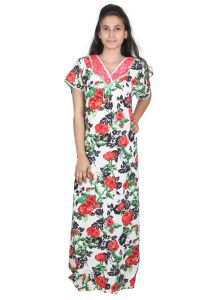 Sleeping Story Rayon Printed White Nighty For Women(code-20273-b)