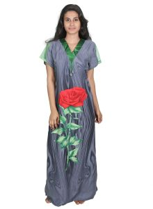Jagdamba,Kalazone,Jpearls,Mahi,Surat Diamonds,Asmi,Sleeping Story,Estoss Women's Clothing - Sleeping Story Rayon Long Grey Printed Nighty for Women(Code-20294-A)