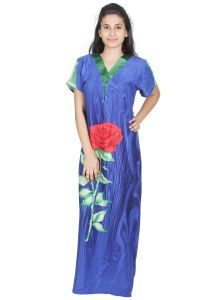 The Jewelbox,Jpearls,Sleeping Story,Hoop Women's Clothing - Sleeping Story Rayon Long Blue Printed Nighty for Women(Code-20294-B)