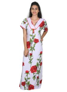 Sleeping Story White Printed Rayon Nighty For Women(code-20295-a)