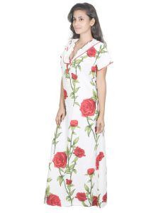 Jagdamba,Kalazone,Jpearls,Mahi,Surat Diamonds,Asmi,Sleeping Story Women's Clothing - Sleeping Story Cream Printed Rayon Nighty for Women(Code-20295-B)