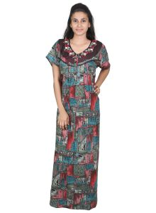 Avsar,Unimod,Lime,Clovia,Arpera,Tng,Sleeping Story Women's Clothing - Sleeping Story Alpine Multicoloured Printed Nighty for Women(Code-20297-B)