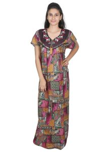 Sleeping Story Alpine Pink Printed Nighty For Women(code-20297-c)