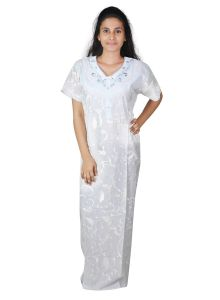 Sleeping Story Cotton Light Grey Long Nighty For Women(code-5002-c)