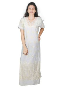 Sleeping Story Embroidered Yellow Cotton Nighty For Women(code-5009-a)