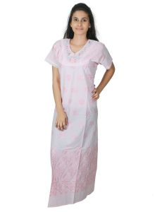 the jewelbox,port,sleeping story Sleep Wear (Women's) - Sleeping Story Embroidered Pink Cotton Nighty for Women(Code-5009-B)