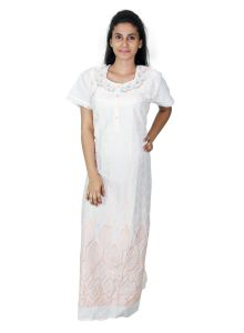 Sleeping Story White Cotton Embroidered Nighty For Women(code-5010-a)