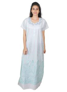 Sleeping Story Cotton White Free Size Nighty For Women(code-5010-b)