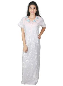 Rcpc,Kalazone,Jpearls,Parineeta,Bagforever,Surat Tex,Unimod,Estoss,Gili,Sleeping Story Women's Clothing - Sleeping Story Floral Printed Cotton White Nighty for Women(Code-5012-B)