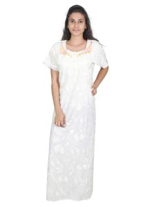 Jpearls,Port,Sleeping Story Women's Clothing - Sleeping Story White Cotton Nighty for Women(Code-5013-A)