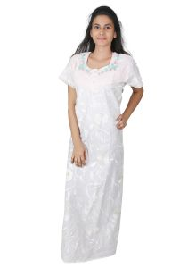 Vipul,Surat Tex,Avsar,Kaamastra,Mahi,Sleeping Story,Oviya Women's Clothing - Sleeping Story White Long Cotton Nighty for Women(Code-5013-C)