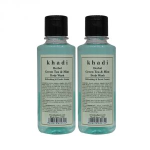 Khadi Herbal Green Tea & Mint Body Wash - 210ml (set Of 2)