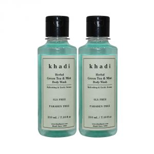 Khadi Herbal Green Tea & Mint Body Wash Sls-paraben Free - 210ml (set Of 2)