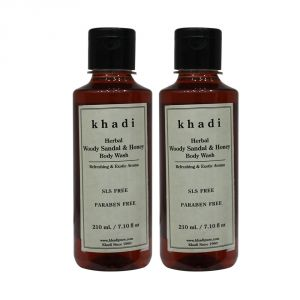 Khadi Herbal Woody Sandal & Honey Body Wash Sls-paraben Free - 210ml (set Of 2)