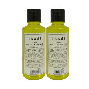 Nike,Maybelline,Khadi,Ag,Davidoff,Kaamastra,Indrani Body Care - Khadi Herbal Aromatic Bubble Bath with Lavender & Jasmine - 210ml (Set of 2)